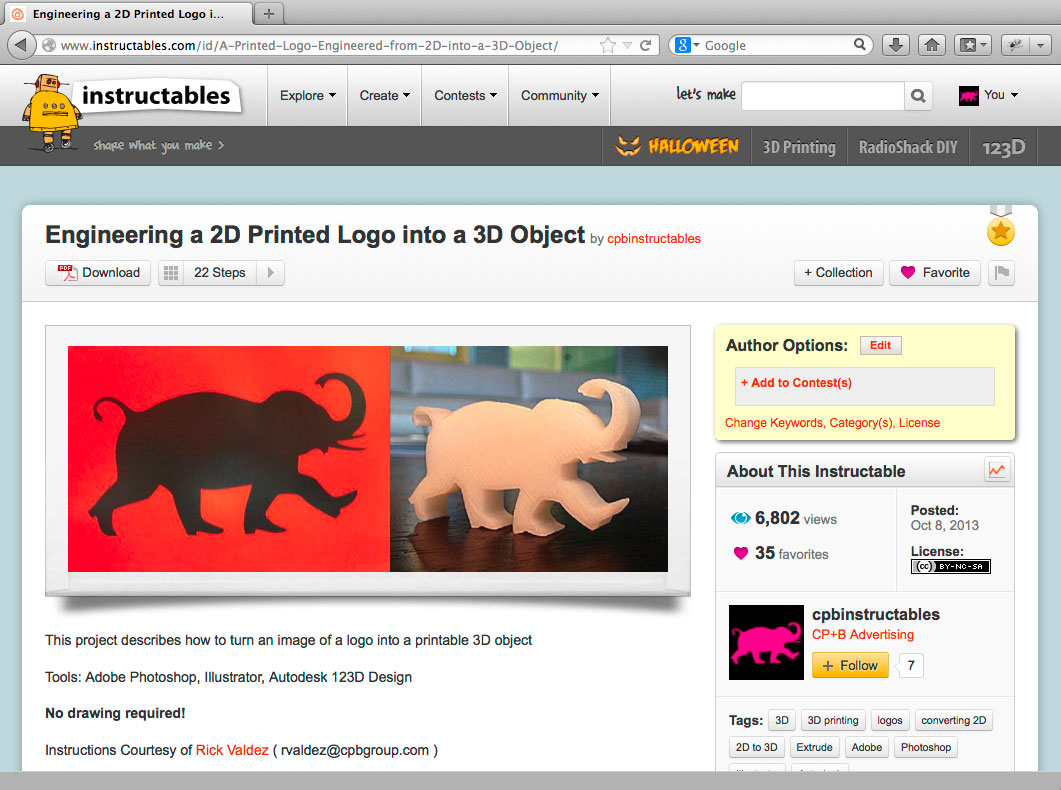 Instructables 2D to 3D